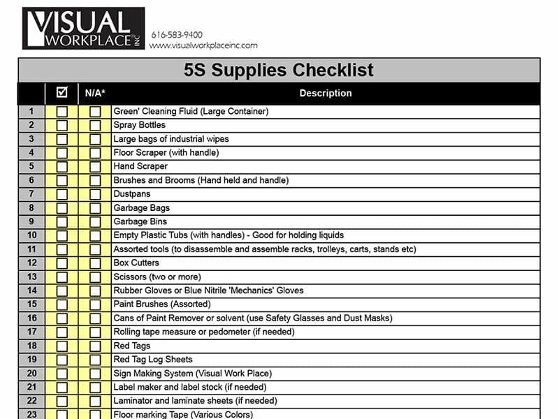 5S Supplies Checklist