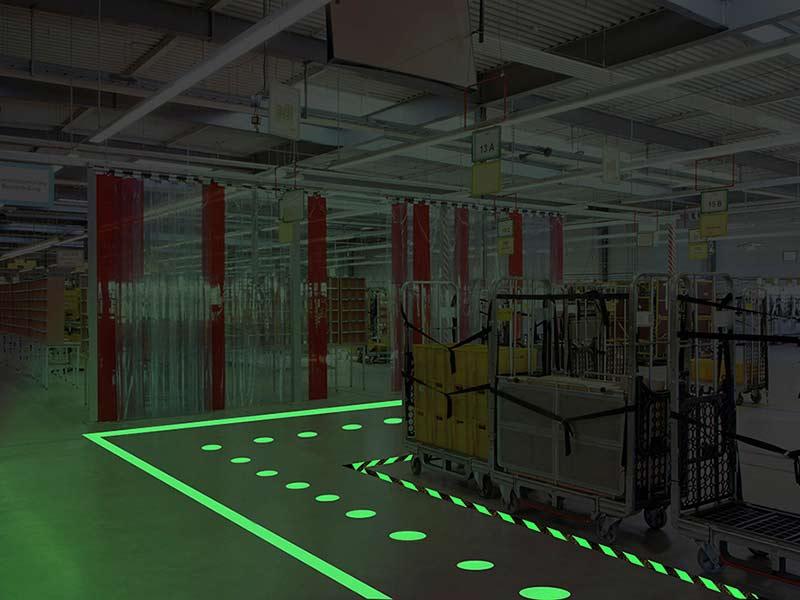 Glow-in-the-Dark Floor Decals, Reduce Injury and Danger