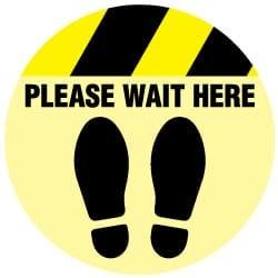 Please Wait Foot Floor Decal Round