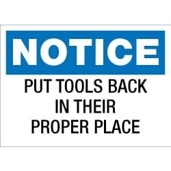 Put Tools Back Sign