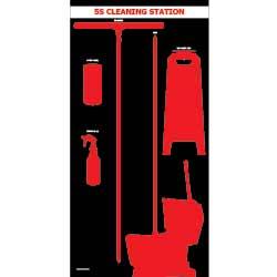 Wet Tool Shadow Board - Black w/ Red Tool Shadows