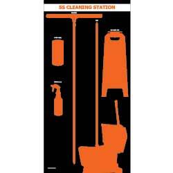 Wet Tool Shadow Board - Black w/ Orange Tool Shadows