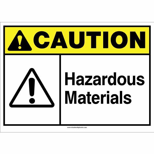 ANSI Caution Hazardous Materials Sign