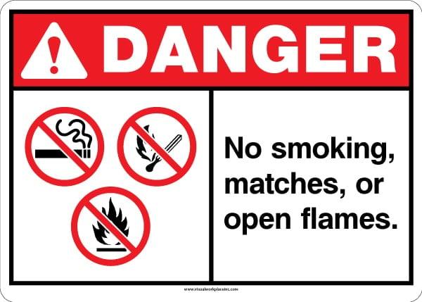 Danger No Smoking or Matches Sign