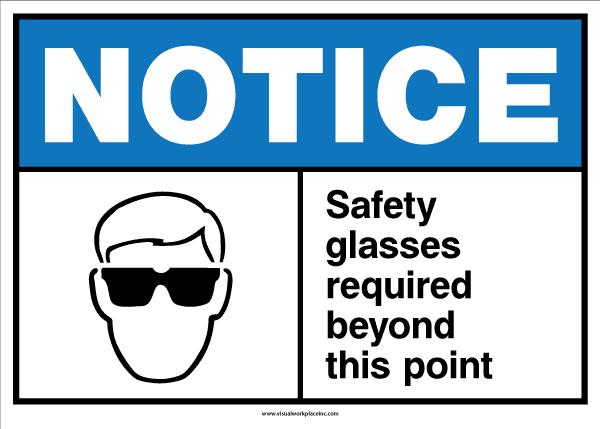ANSI Notice Safety Glasses Sign