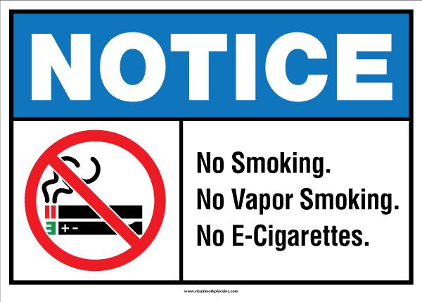 ANSI Notice No Smoking Vaping Sign
