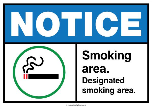 ANSI Notice Smoking Area Sign