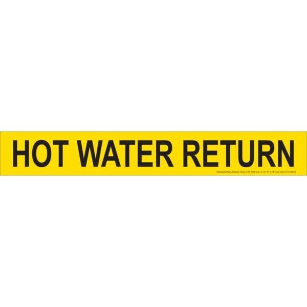 Yellow Hot Water Return Stick-On