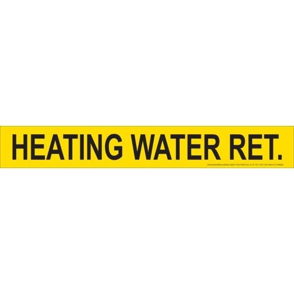 Yellow Heating Water Return Stick-On